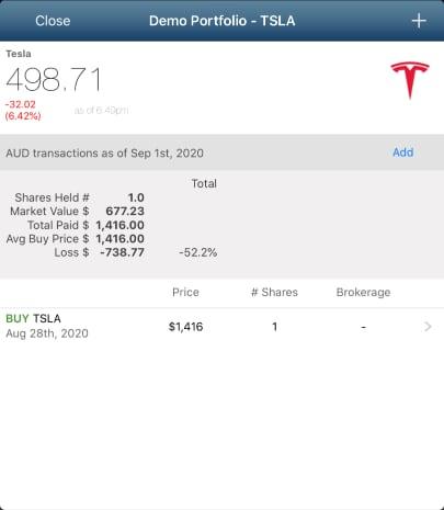 TSLA holding after a stock split