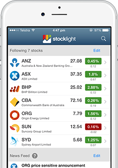 StockLight iPhone watchlist screen